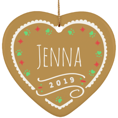 Gingerbread Personalized 2019 Ceramic Heart Ornament