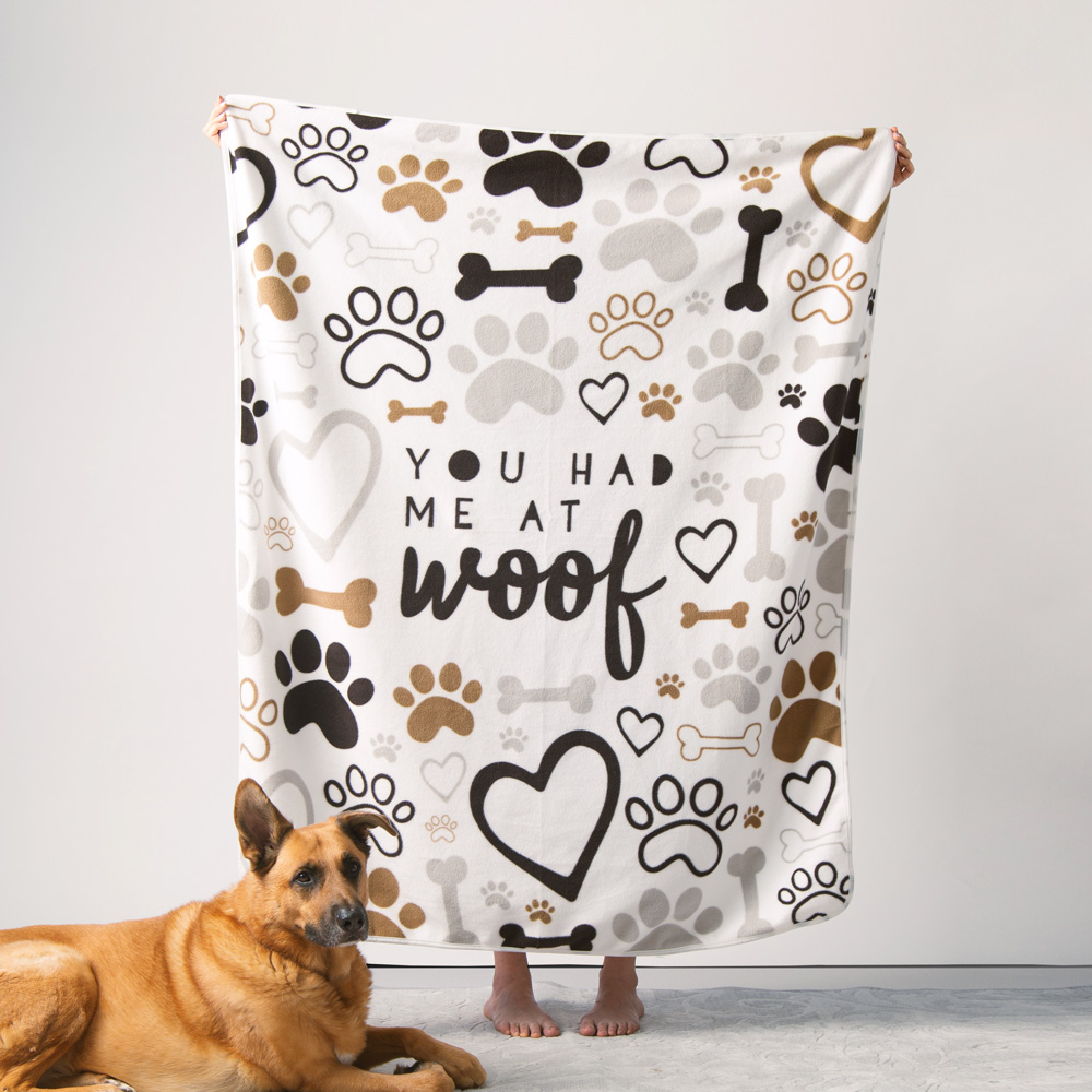 """Give Warmth™️ Buy One Give One Fleece Blanket: You Had Me At Woof 60"""" x 50"""""""