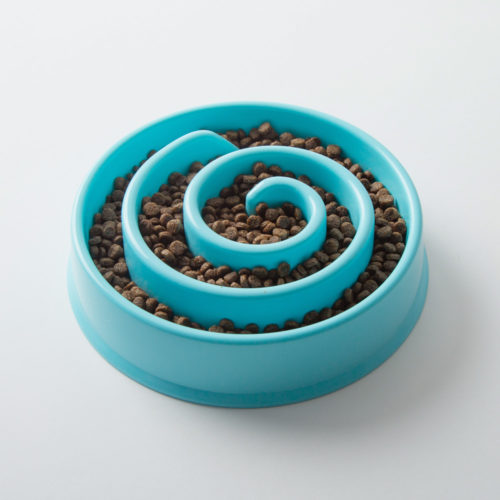 Slow Feeder Interactive Blue Swirl Bowl
