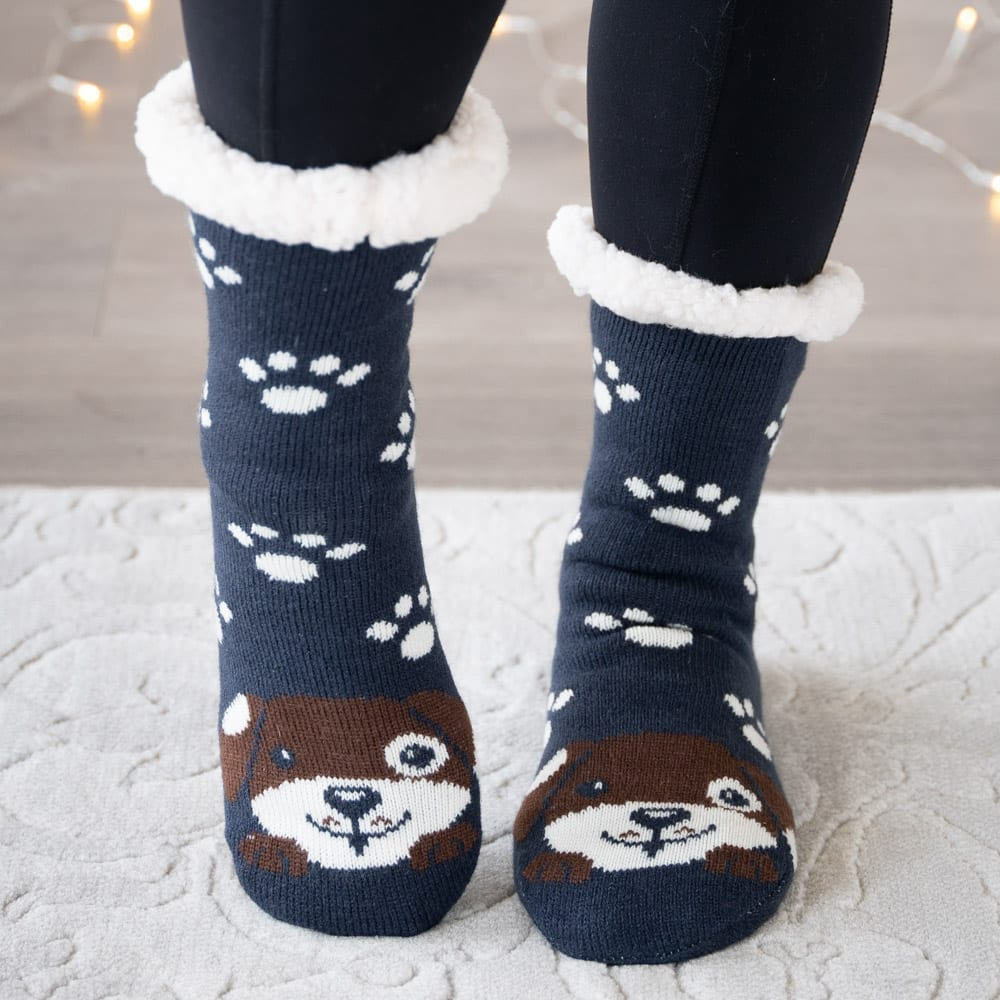 Snuggle Pups Warm 'n Cozy Slipper Socks-Navy 🐾  Over 68% Off!