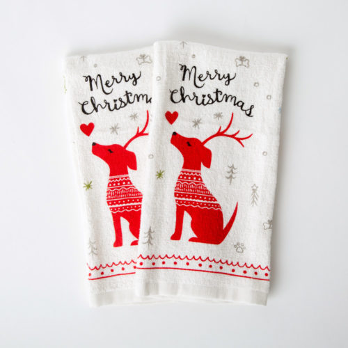 Reindeer Dog Merry Christmas Kitchen Towels (Set of 2)