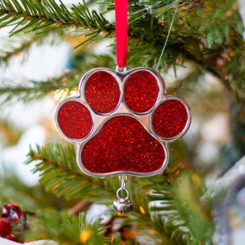 Sparkling Red Paw Ornament