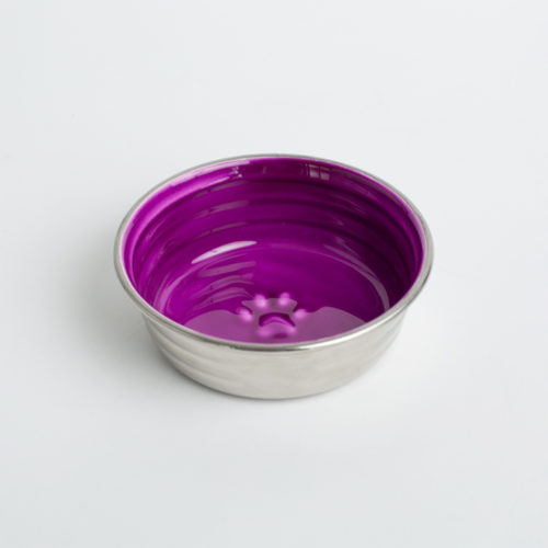 Pretty Paw Purple Stainless Steel Bowl, Small