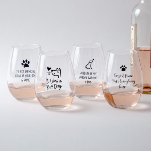 Dogs 'n Wine Stemless Glass Gift Set