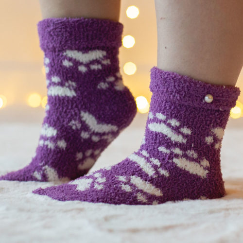 Warm 'n Fuzzy Paws Purple Socks