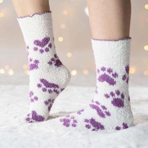 Warm 'n Fuzzy Paws Creme Socks