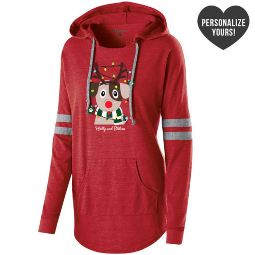 My Favorite Christmas Pup Personalized Red Varsity Slouchy Hoodie