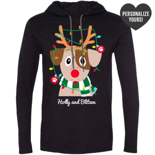 My Favorite Christmas Pup Personalized Black T-Shirt Hoodie