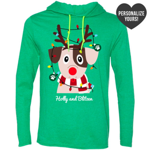 My Favorite Christmas Pup Personalized Green T-Shirt Hoodie