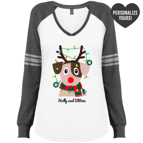 My Favorite Christmas Pup Personalized White & Grey Varsity V-Neck Long Sleeve 🐾  Deal 20% Off!