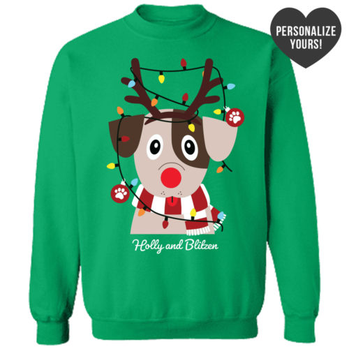 My Favorite Christmas Pup Personalized Green Sweatshirt
