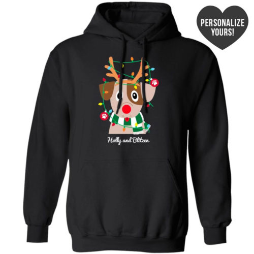 My Favorite Christmas Pup Personalized Black Pullover Hoodie