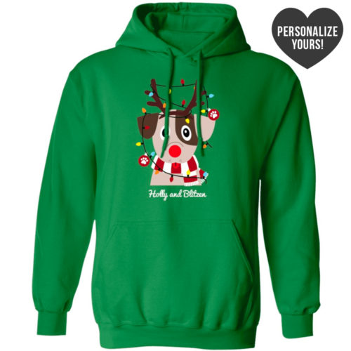 My Favorite Christmas Pup Personalized Green Pullover Hoodie