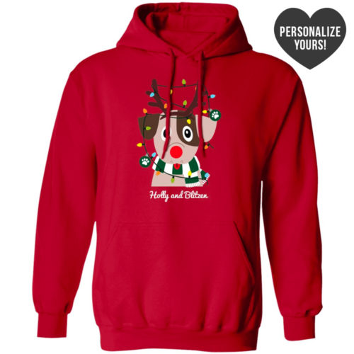 My Favorite Christmas Pup Personalized Red Pullover Hoodie