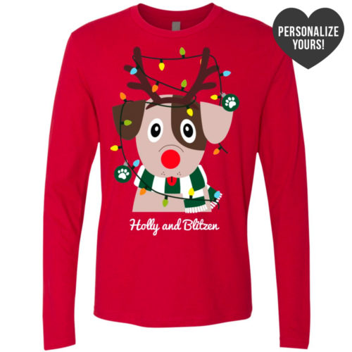 My Favorite Christmas Pup Personalized Premium Red Long Sleeve Tee