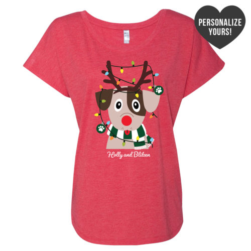 My Favorite Christmas Pup Personalized Red Slouchy Tee