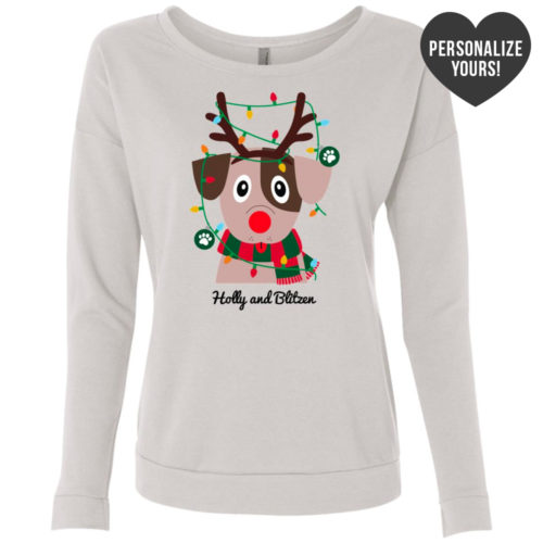 My Favorite Christmas Pup Personalized White Scoop Neck Sweatshirt