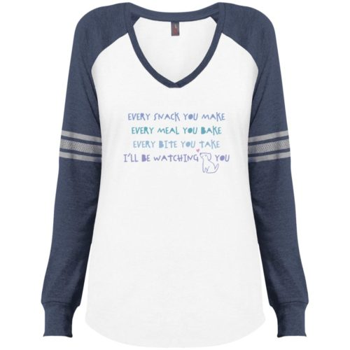 Every Snack You Make White & Navy Varsity V-Neck Long Sleeve