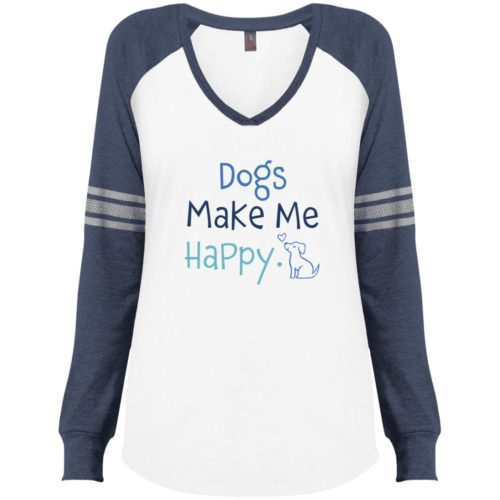 Dogs Make Me Happy White & Navy Varsity V-Neck Long Sleeve