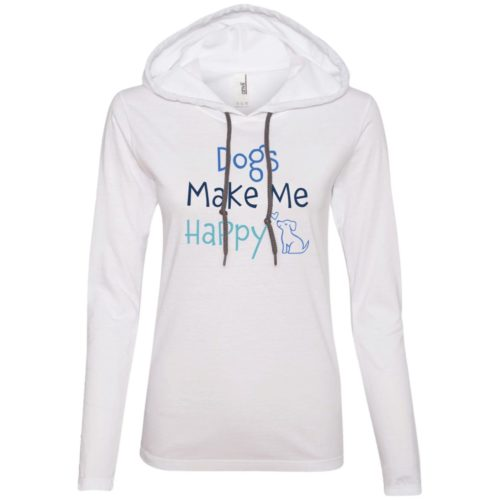 Dogs Make Me Happy White Fitted T-Shirt Hoodie