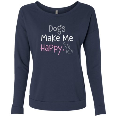 Dogs Make Me Happy Indigo Scoop Neck Sweatshirt