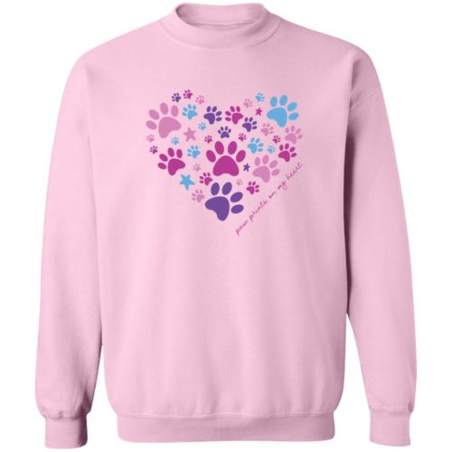 Paw Prints On My Heart Pink Sweatshirt