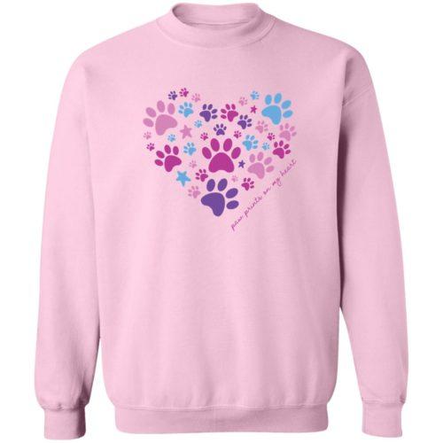 Paw Prints On My Heart Pink Sweatshirt