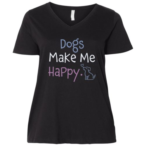 Dogs Make Me Happy Curvy Fit Black V-Neck Tee