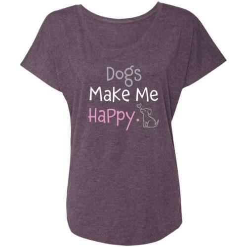 Dogs Make Me Happy Vintage Purple Slouchy Tee