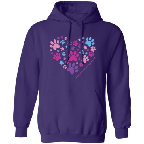 Paw Prints On My Heart Purple Pullover Hoodie