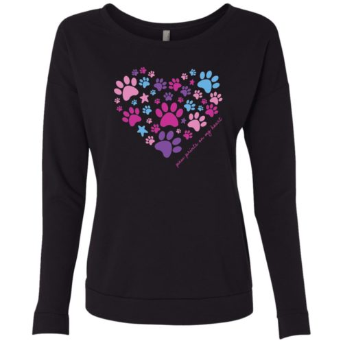 Paw Prints On My Heart Black Lightweight French Terry Scoop