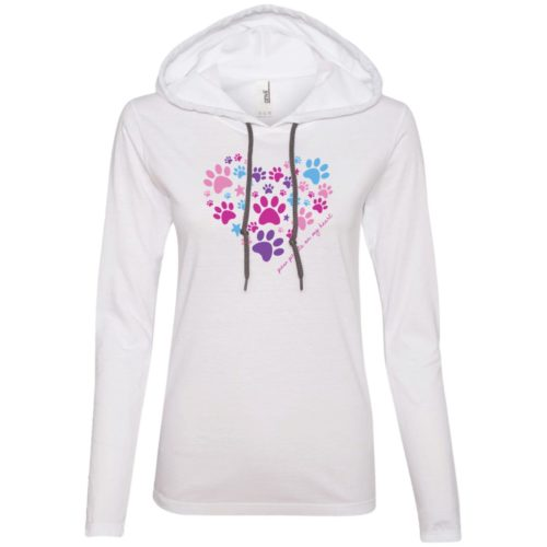 Paw Prints On My Heart White Fitted T-Shirt Hoodie