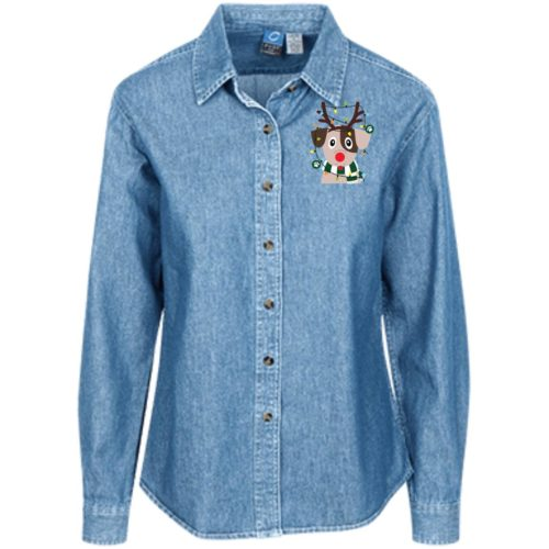 My Favorite Christmas Pup Classic Women's Denim Shirt