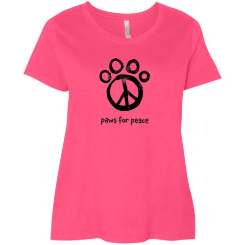 Paws For Peace Curvy Fit Pink Scoop Neck Tee