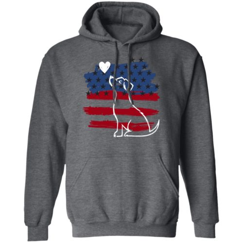 I Love My Patriotic Pup Dark Heather Grey Pullover Hoodie
