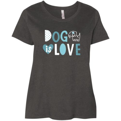Dog Is Love Curvy Fit Vintage Smoke Scoop Neck Tee