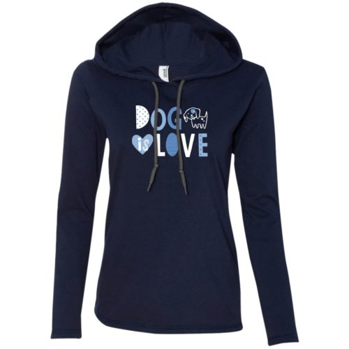 Dog Is Love Navy Fitted T-Shirt Hoodie