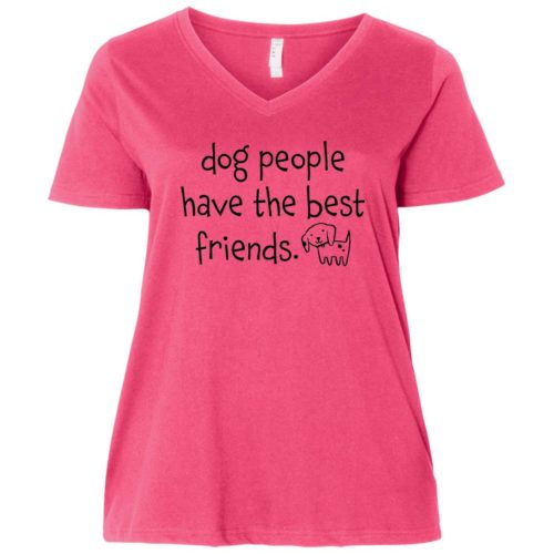 Dog People Have The Best Friends Curvy Fit Pink V-Neck Tee