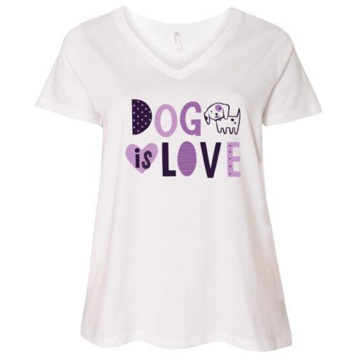 Dog Is Love Curvy Fit White V-Neck Tee