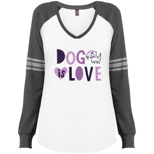 Dog Is Love White & Grey Varsity V-Neck Long Sleeve