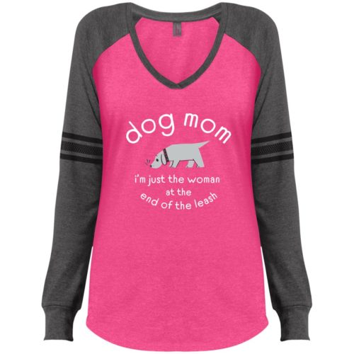 Woman At The End Of The Leash Pink & Grey Varsity V-Neck Long Sleeve