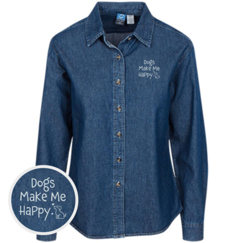 Dogs Make Me Happy Classic Women's Dark Blue Denim Shirt