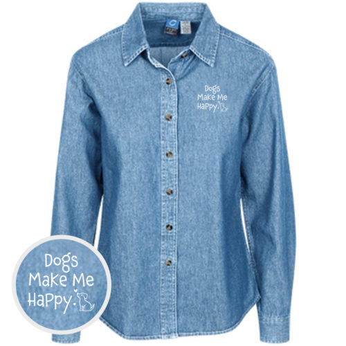 Dogs Make Me Happy Classic Women's Light Blue Denim Shirt