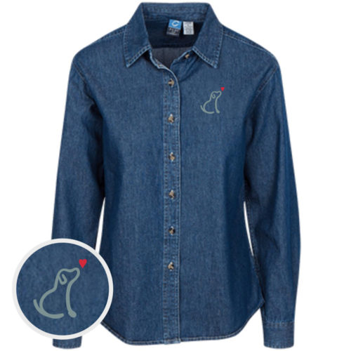 I Really Love This Dog Classic Women's Dark Blue Denim Shirt