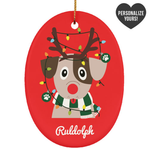 My Favorite Christmas Pup Personalized Ceramic Oval Ornament