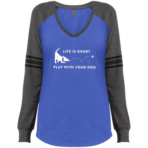 Life Is Short Play With Your Dog Blue & Grey Varsity V-Neck Long Sleeve