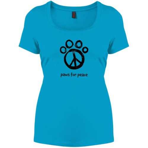 Paws For Peace Relaxed Fit Turquoise Tee