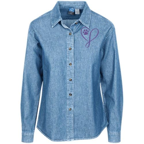 Elegant Heart Classic Women's Light Blue Denim Shirt