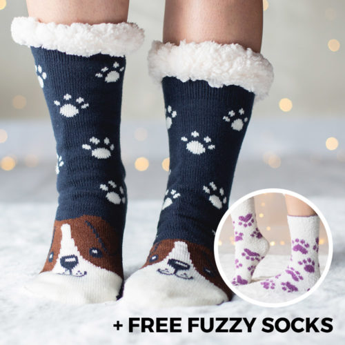 Snuggle Pups Warm 'n Cozy Slipper Socks plus Free Fuzzy Sock