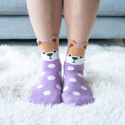 Warm 'n Fuzzy Cute Doggie Purple Polka Dot Socks